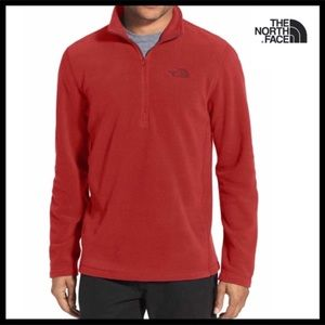 THE NORTH FACE RED V-NECK FLEECE ZIPPER PULLOVER